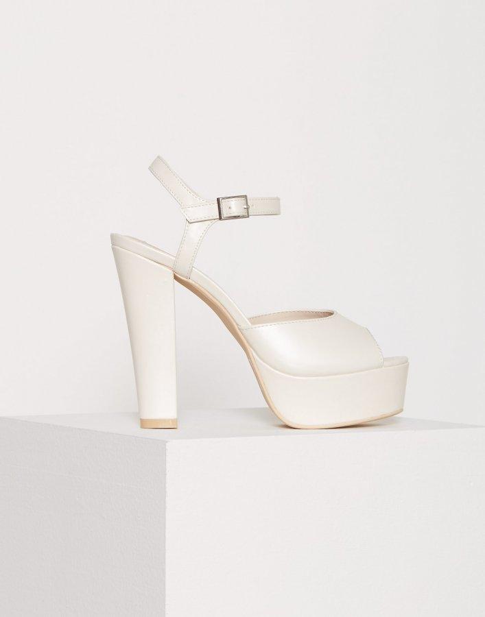 Nly Shoes Plain Platform Sandal Sandaletit White Pearl