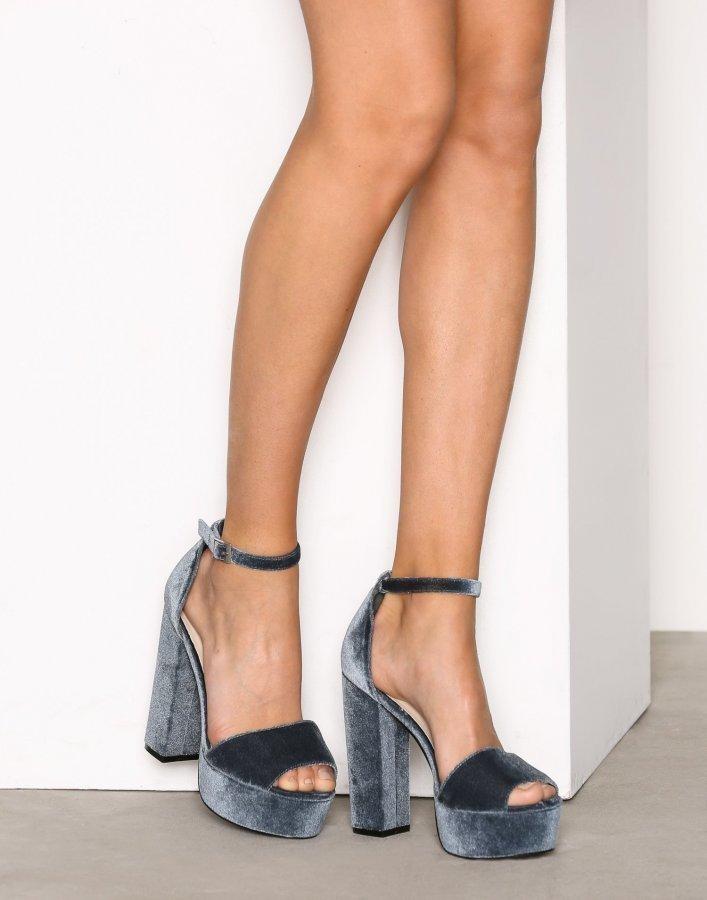 Nly Shoes Platform Block Sandal Sandaletit Harmaa