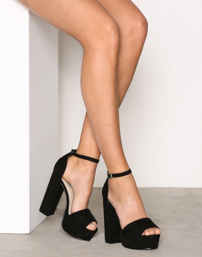 Nly Shoes Platform Block Sandal Sandaletit Musta