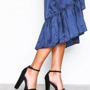 Nly Shoes Platform Heel Sandal Sandaalit Black Velvet