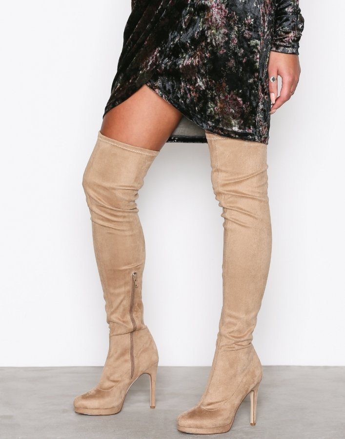 Nly Shoes Platform Over Knee Boot Ylipolvensaappaat Ruskea / Harmaa