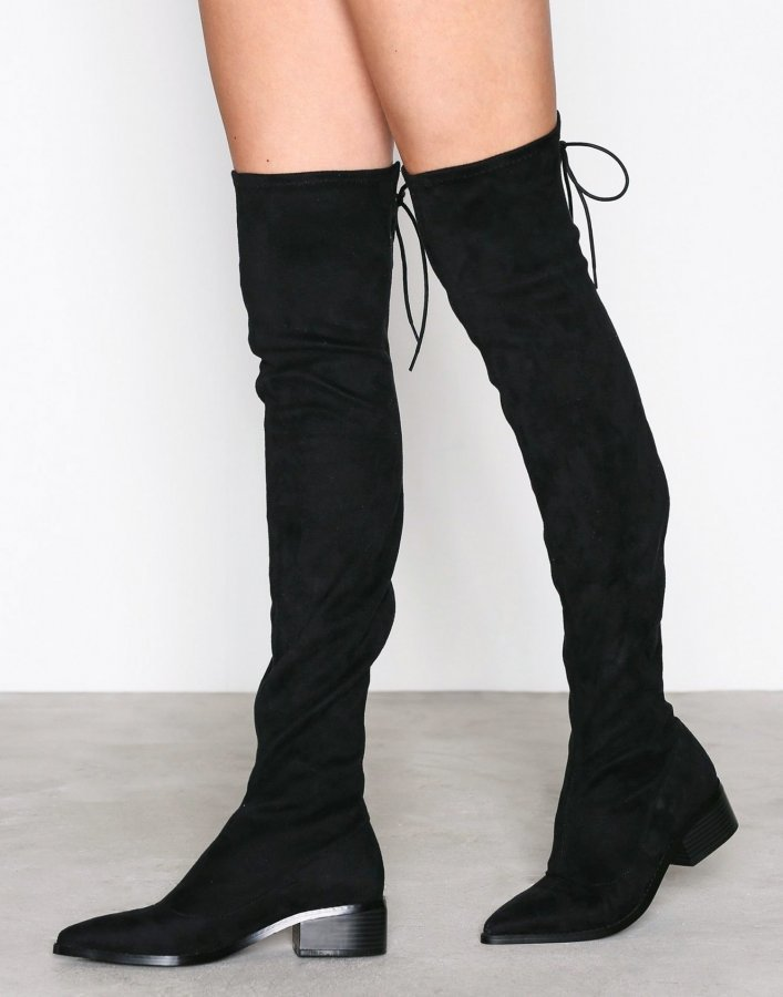 Nly Shoes Pointy Flat Thigh High Boot Ylipolvensaappaat Musta