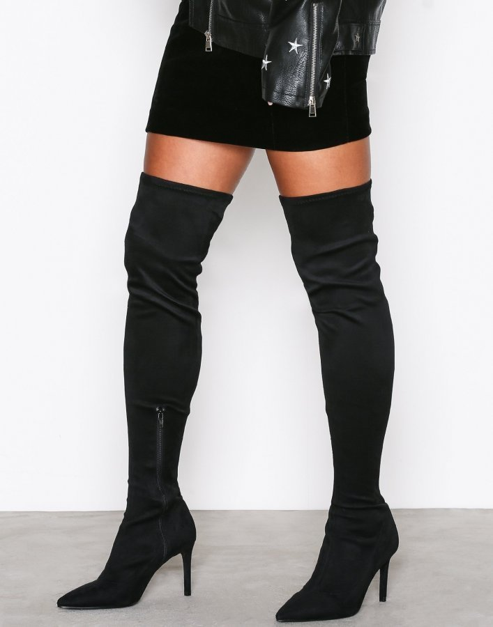 Nly Shoes Pointy Stiletto Thigh Boot Ylipolvensaappaat Musta