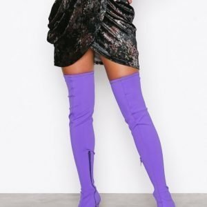 Nly Shoes Pointy Stiletto Thigh Boot Ylipolvensaappaat Violetti