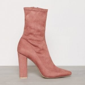 Nly Shoes Pointy Stretchy Block Boot Bootsit Dusty Rose