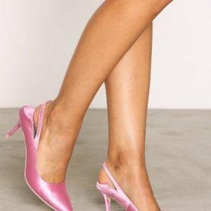 Nly Shoes Satin Slingback Pump Korkokengät Vaaleanpunainen