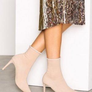 Nly Shoes Slim Sock Boot Korkokengät Beige