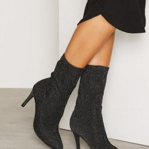 Nly Shoes Slouched Heel Boot Saappaat Musta