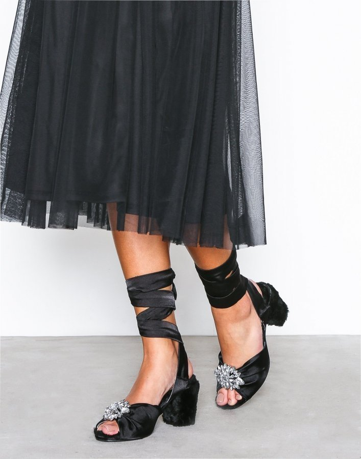 Nly Shoes Strap Satin Mule Satiinisandaalit Musta