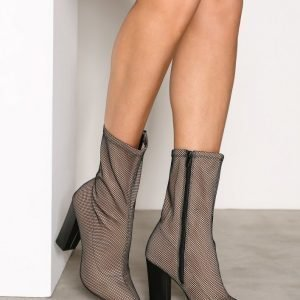 Nly Shoes Stretchy Mesh Boot Bootsit Musta / Beige