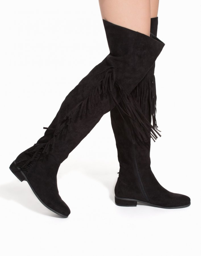 Nly Shoes Thigh High Fringe Boot Ylipolvensaappaat Musta