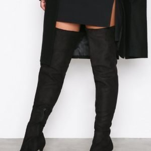 Nly Shoes Thigh High Stiletto Boot Bootsit Musta