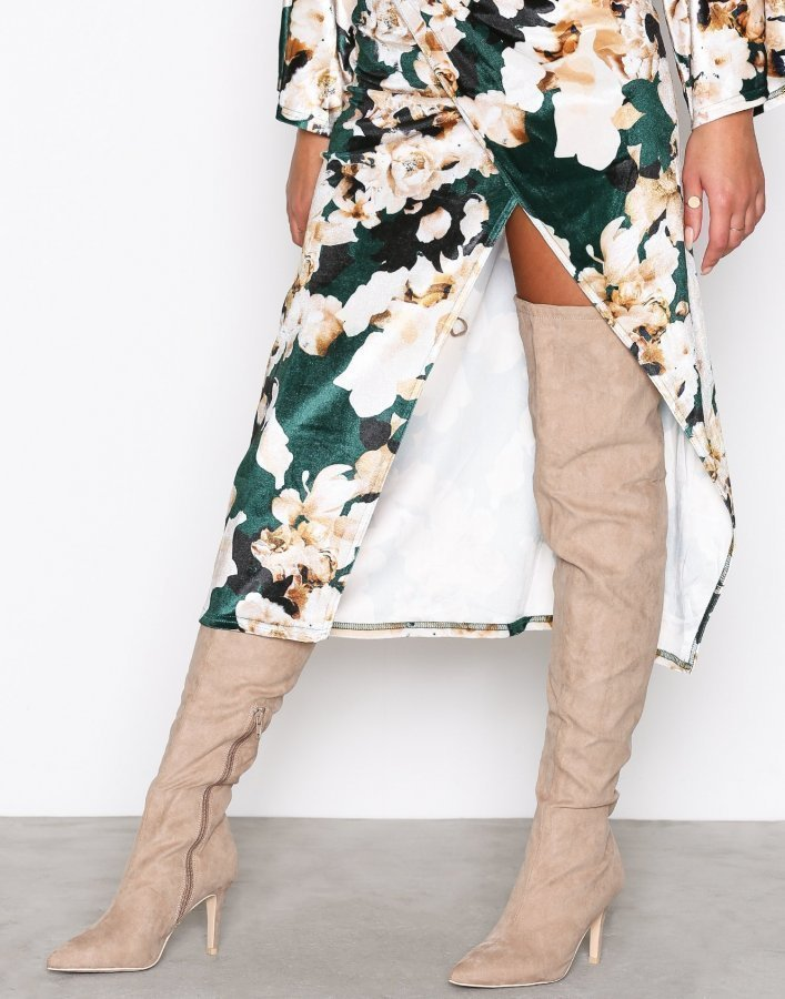 Nly Shoes Thigh High Stiletto Boot Ylipolvensaappaat Beige