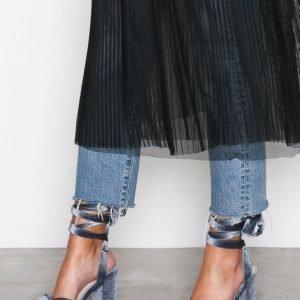 Nly Shoes Velvet Lace Heel Sandal Sandaalit Harmaa / Sininen