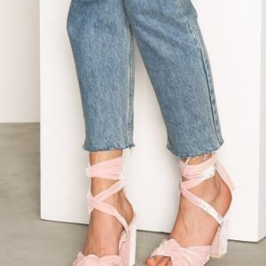 Nly Shoes Velvet Lace Heel Sandal Sandaalit Vaalea Pinkki