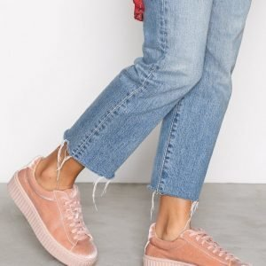 Nly Shoes Velvet Rubber Sole Sneaker Tennarit Dusty Pink