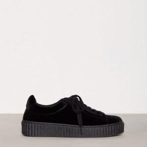 Nly Shoes Velvet Rubber Sole Sneaker Tennarit Musta