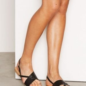 Pieces Psjoyce Leather Sandal Black Sandaalit Musta