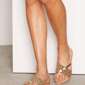 Pieces Psjoyce Leather Sandal Leopard Gold Sandaalit Kulta