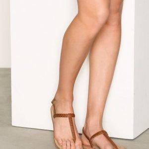Pieces Pslina Leather Sandal Studs Cognac Sandaalit Vaaleanruskea