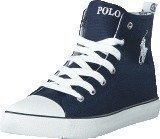 Ralph Lauren Junior Harbour Hi JR Navy Canvas -White