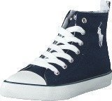 Ralph Lauren Junior Harbour Hi Kids Navy Canvas -White