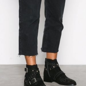 River Island Flat Biker Buckle Boot Bootsit Black
