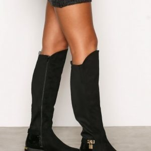 River Island Flat Knee-High Boot Bootsit Black