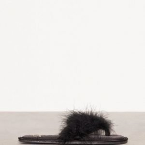 River Island Marabou Flip Flop Slipper Varvassandaalit Black