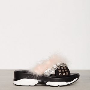 River Island Pacific 2 Gem And Fur Slides Sandaalit Hopea