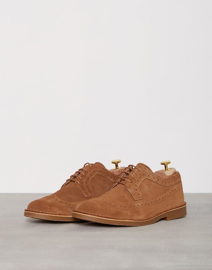 Selected Homme Shhroyce New Light Suede Brogue Sho Pukukengät Vaaleanruskea