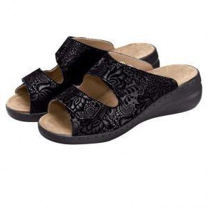 Solidus Sandaalit Musta / Kukallinen