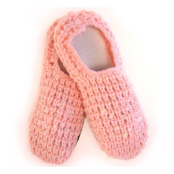 Stickade tofflor | rosa | Halkskydd