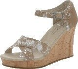 Toms Strappy Wedge Sand Brushed Metal