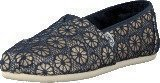 Toms Wm Seasonal Classic Gold Navy crochet glitter