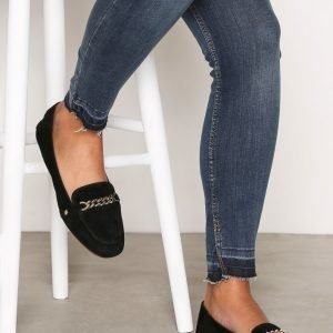 Topshop Chain Trim Suede Loafers Loaferit Black