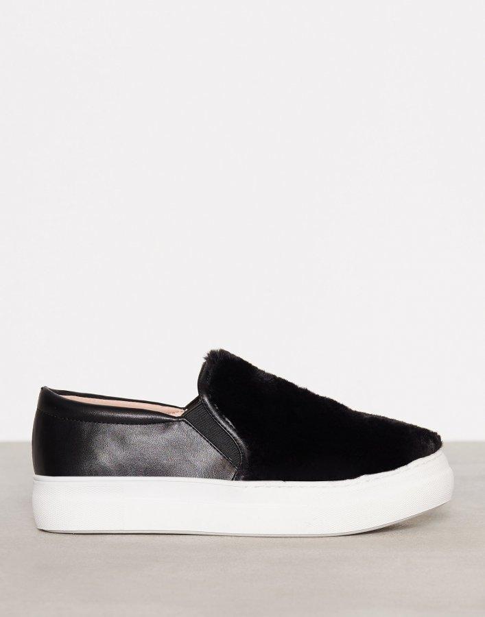 Topshop Faux Fur Slip On Sneaker Slip-On Kengät Black
