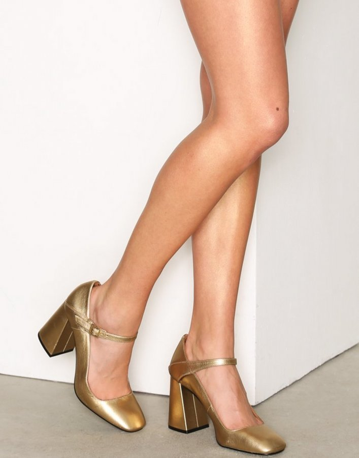 Topshop Gossip Flare Heel Sandaletit Gold
