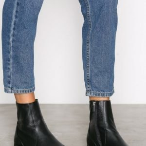 Topshop Kash Leather Sock Boots Bootsit Black