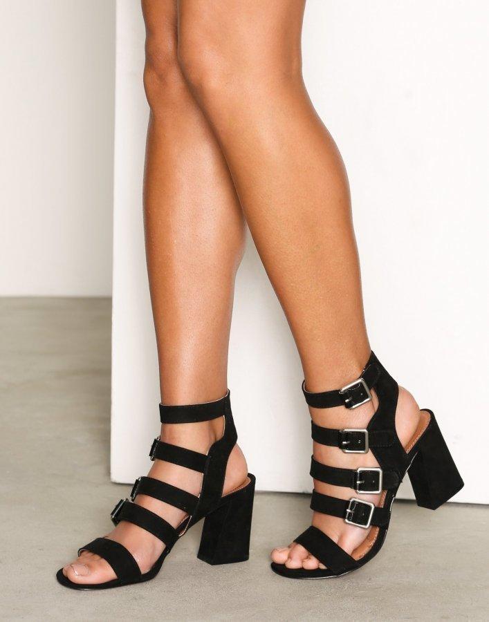 Topshop Multi Buckle Heels Sandaletit Black