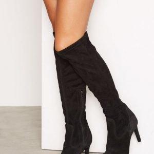 Vero Moda Vmsilla Leather Boot Saappaat Musta